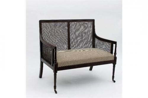 George III Mahogany Two Seater Bergere Sofa