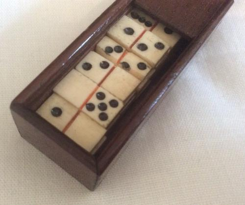 Miniature Boxed Set of Bone Dominoes