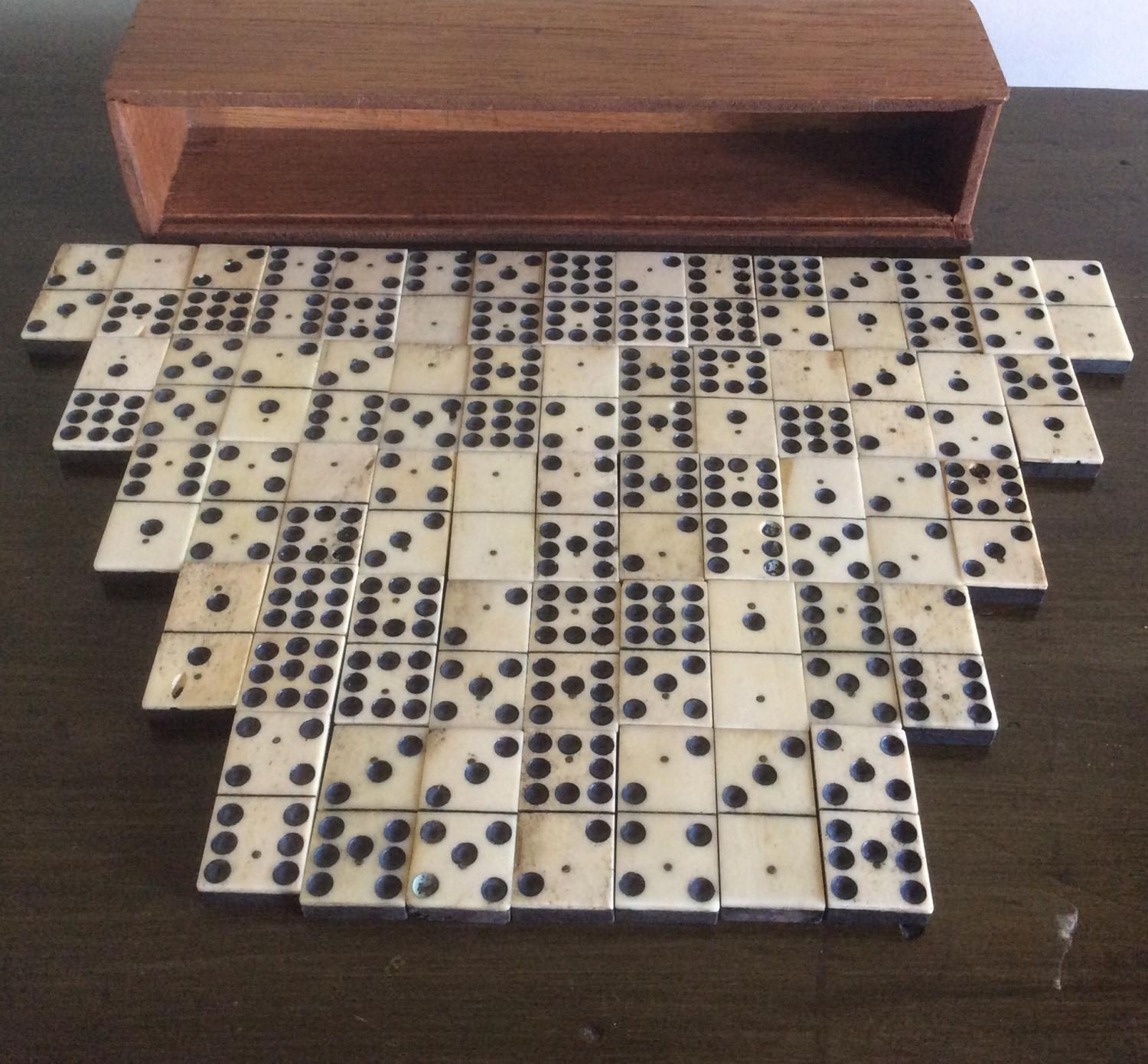 Unusual set of 55 Bone and Ebony Dominoes