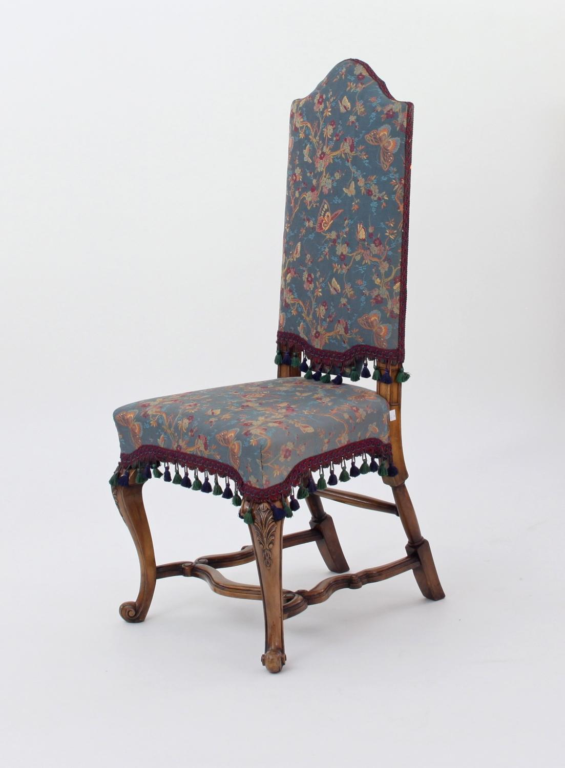 Upholstered Walnut High Back Chair