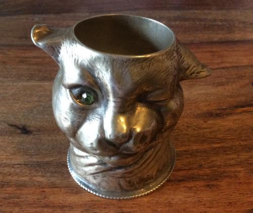 Silver Plated Vesta 'Winking Cat'