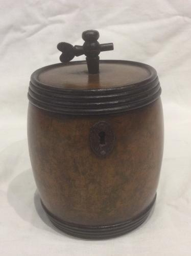 Rare early tea caddy in the form of a barrel