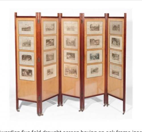 Edwardian oak five panel screen