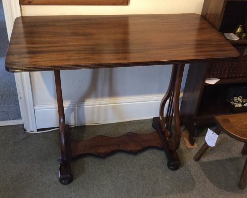 Mahogany Lyre End Occasional Table