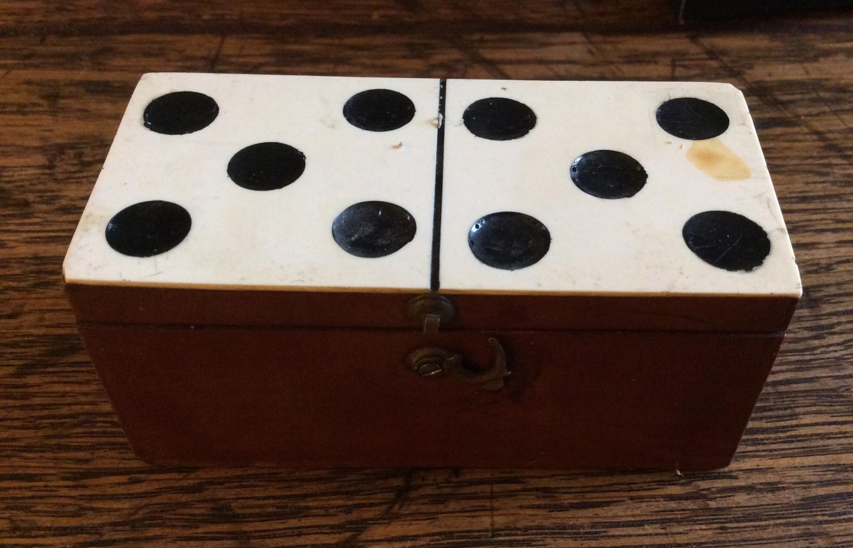 Miniature set of bone dominoes
