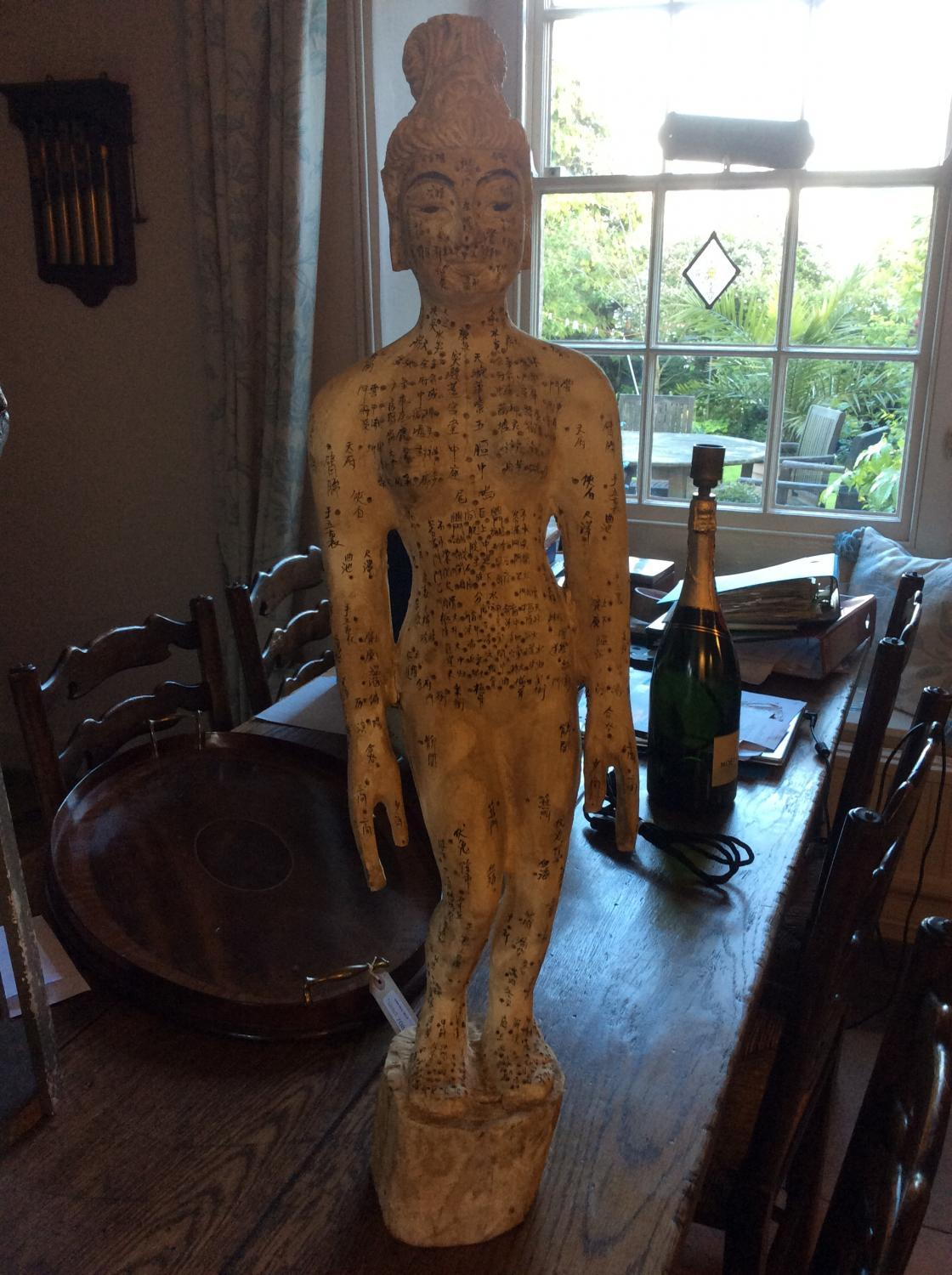 Carved Chinese acupuncture doll