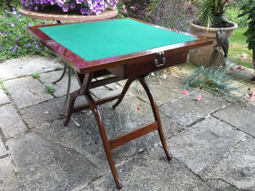 Mahogany Campaign Folding Games Table