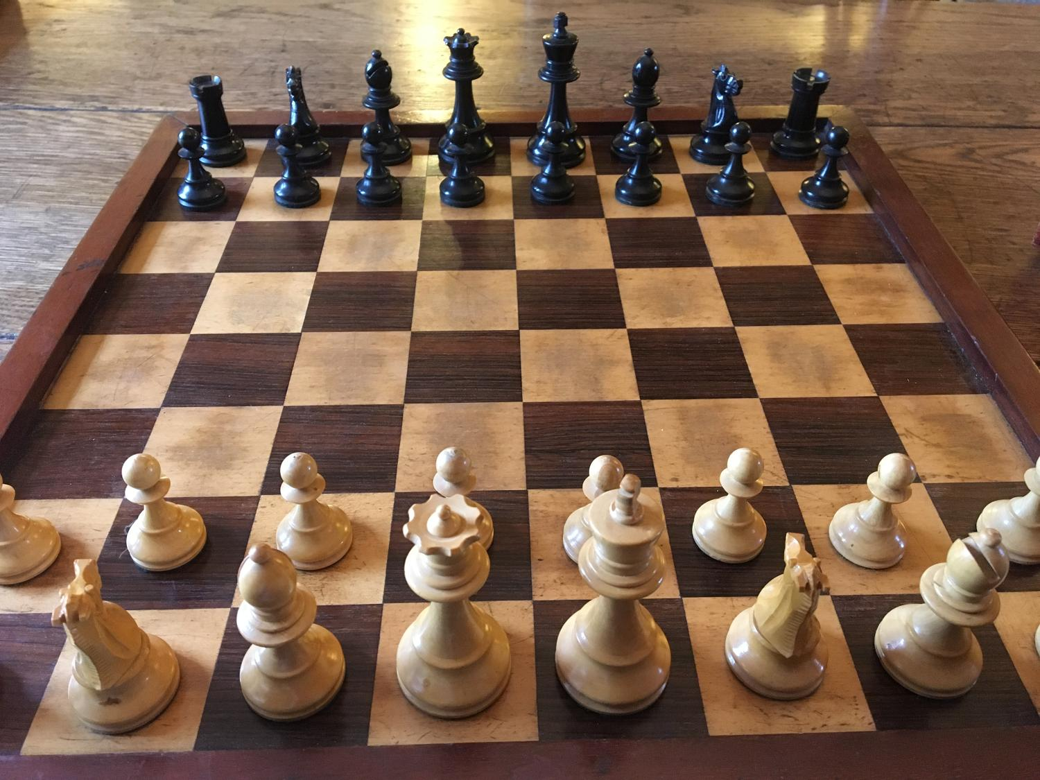 Edwardian Chess board and pieces