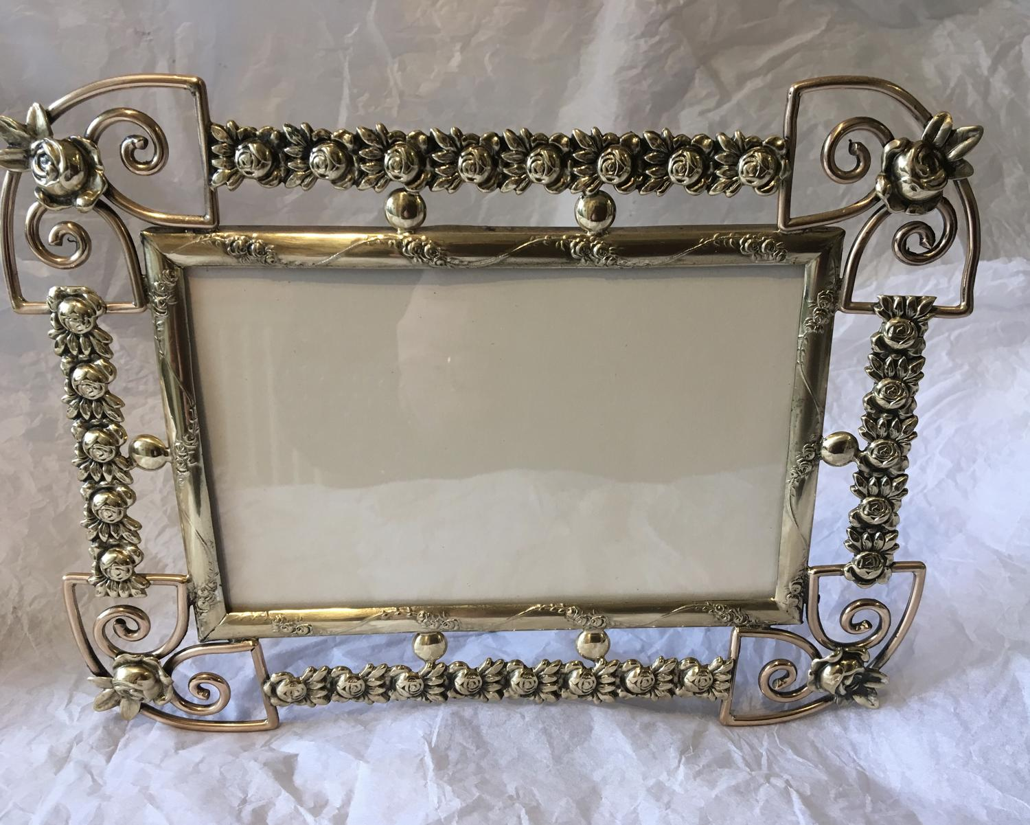 Decorative Victorian brass photograph frame