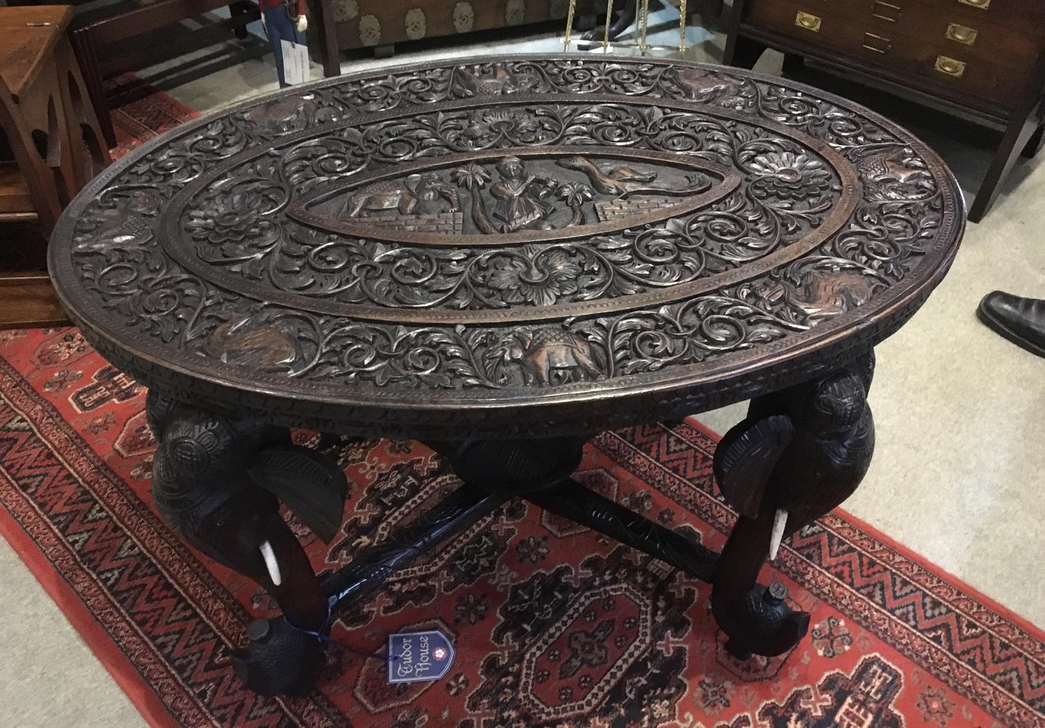 Anglo Raj Carved Elephant Table