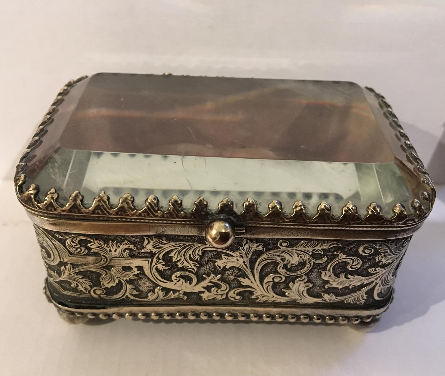 Bevelled glass ormolu jewellery casket
