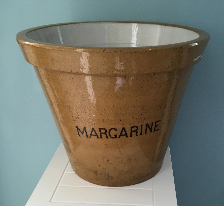 Large stoneware margarine pail