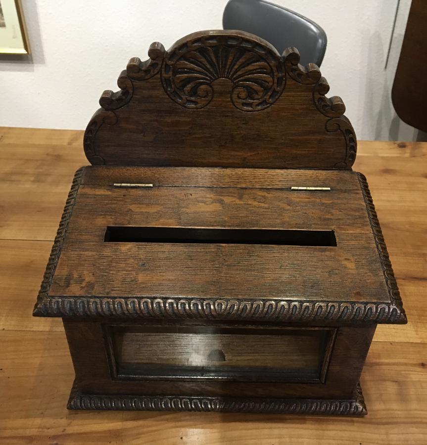 Oak carved hotel post box