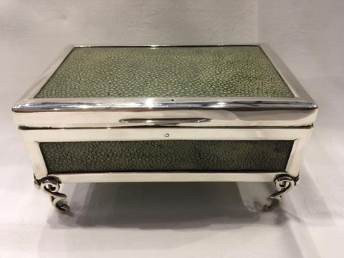 Shagreen and Silver Cigarette Box