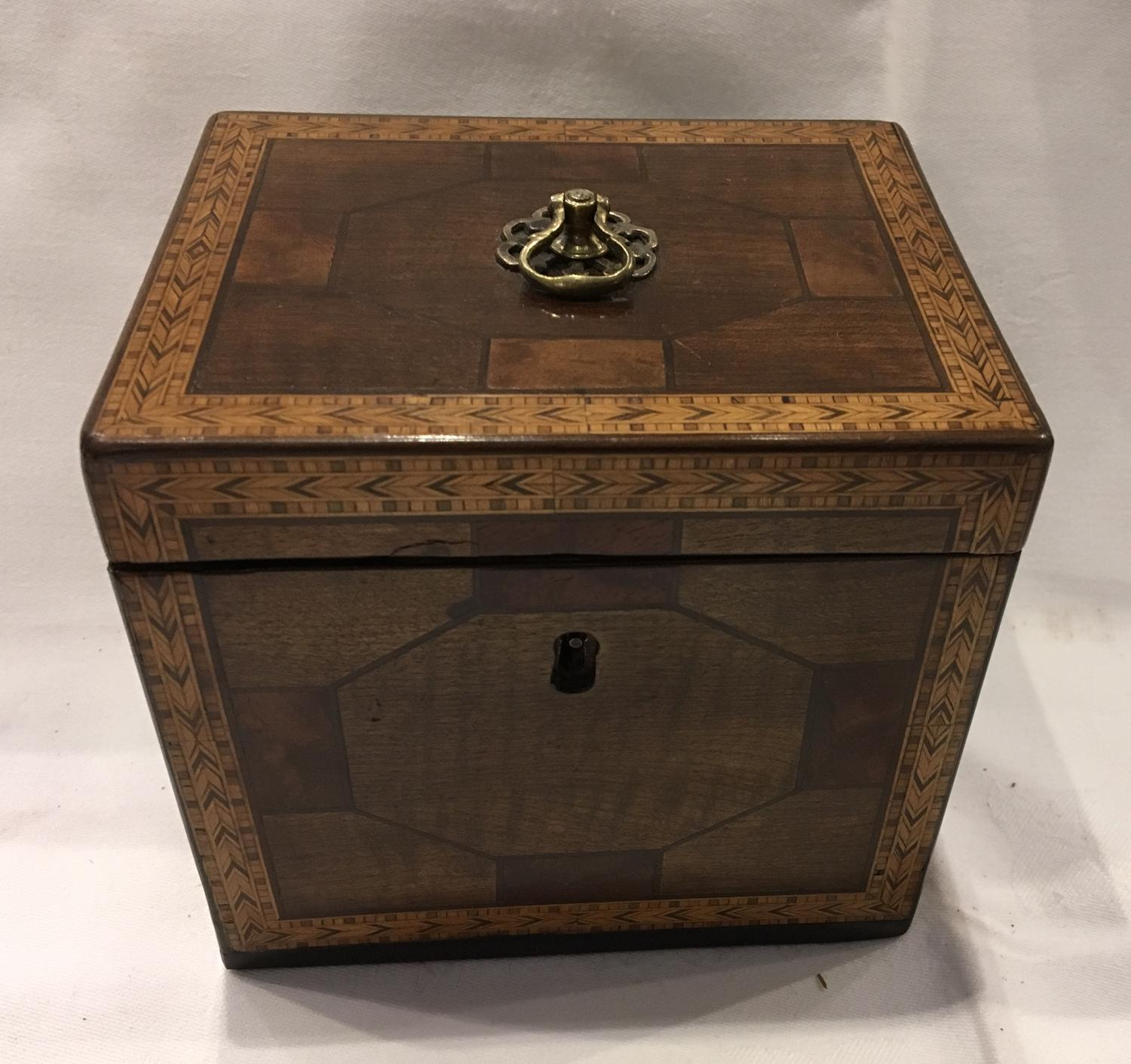George III parquetry tea caddy