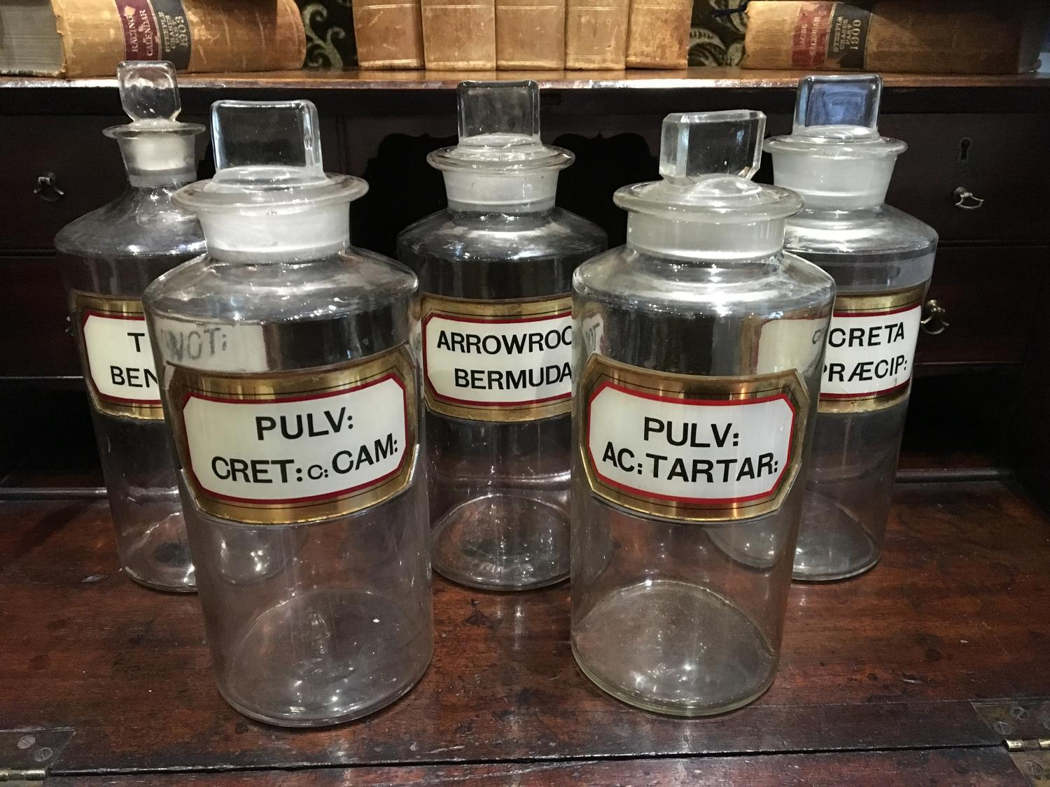 Five large victorian Apothecary Bottles