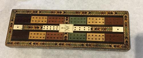 Tunbridgeware cribbage board with Masonic plaque