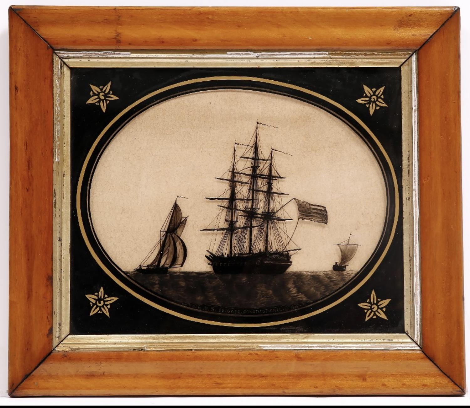 Early 19th Century Silhouettte ' U.S. Frigate Constitutional'