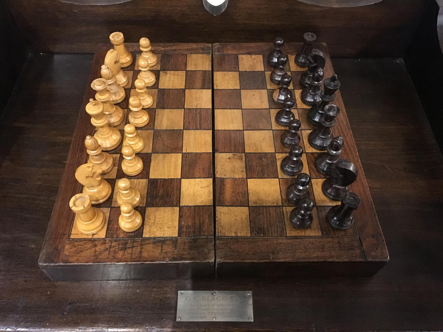 Victorian Chess Board/Box with weighted chess pieces