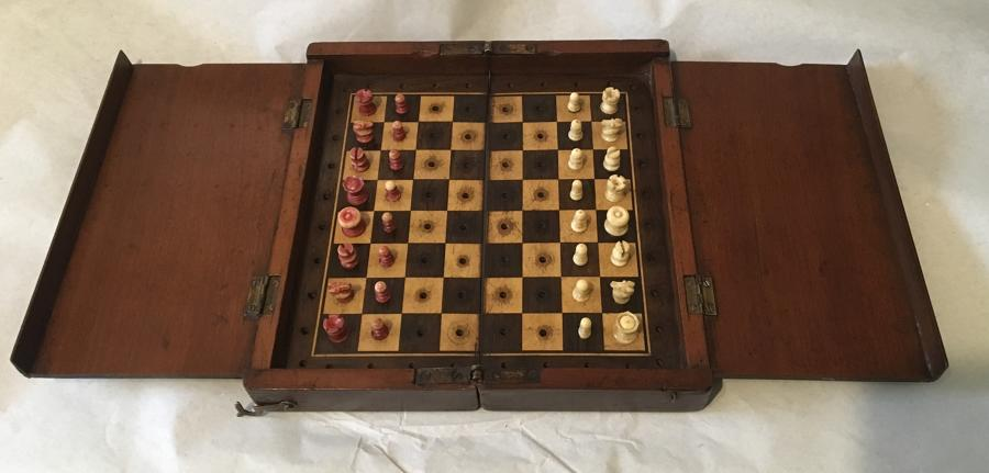 Travelling Mahogany Chess Set