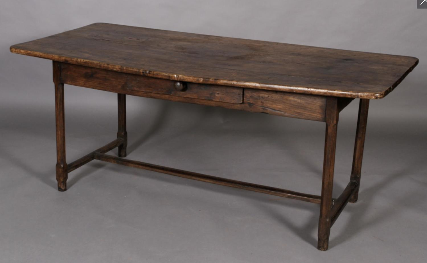 Antique French fruitwood farmhouse table