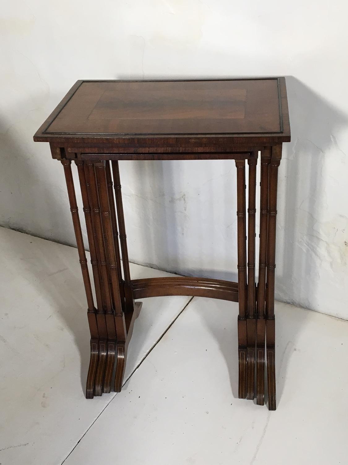 Superb Quartetto of Mahogany and Satinwood Nesting Tables