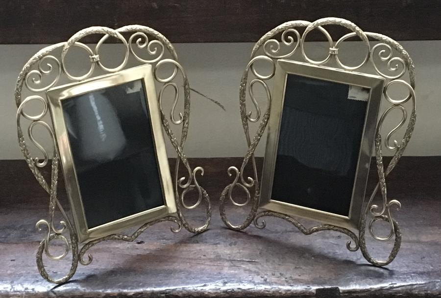 Pair of brass photograph frames