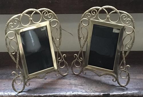 Pair of brass photograph frames