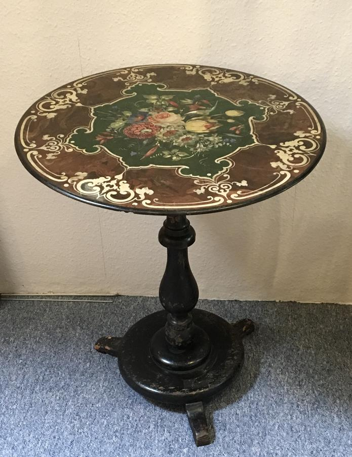 Early Victorian slate polychrome centre table