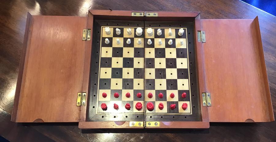 19th century travelling chess set