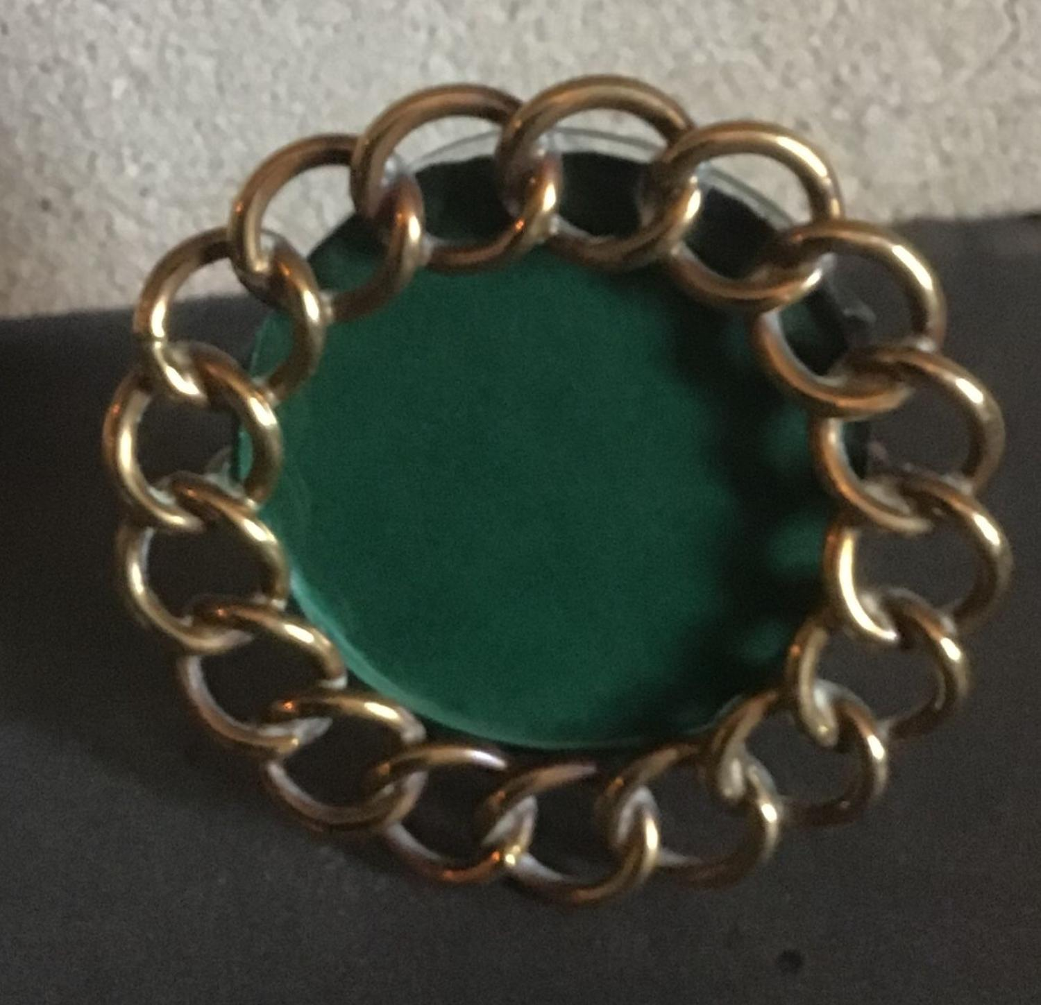 Miniature brass chain link photograph frame