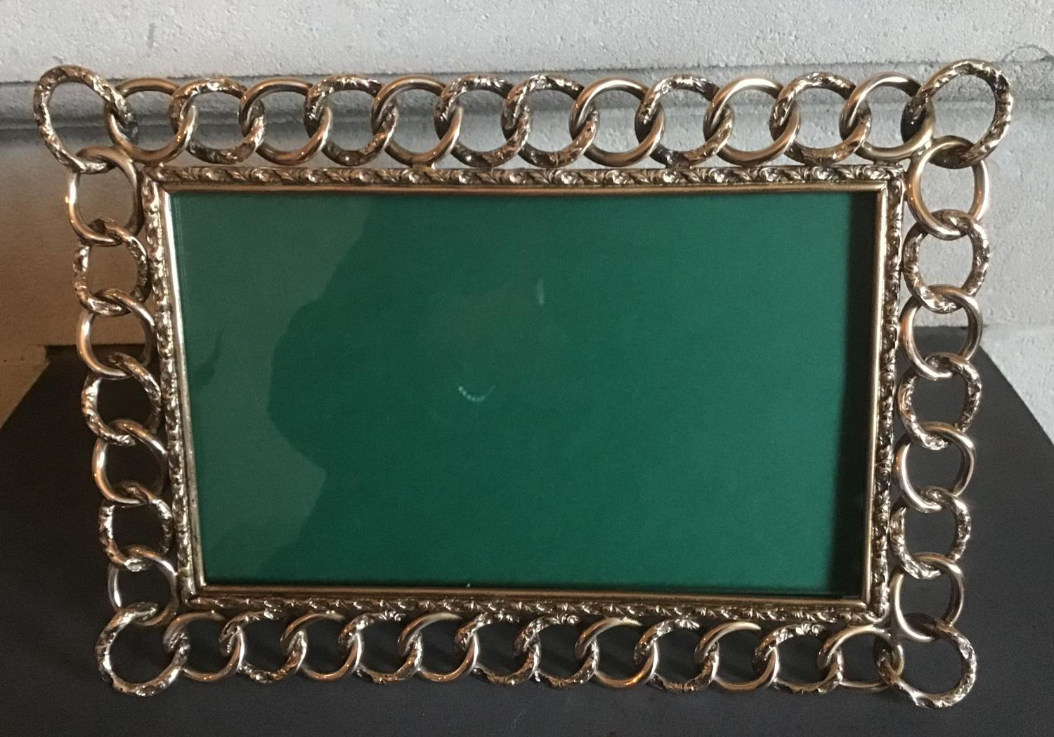 Victorian Brass Chain Link Landscape Photograph Frame