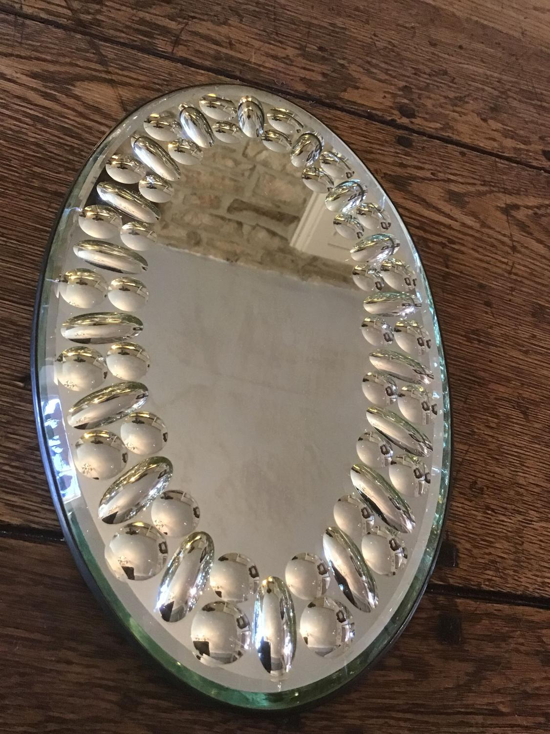 Antique French bubble wall mirror