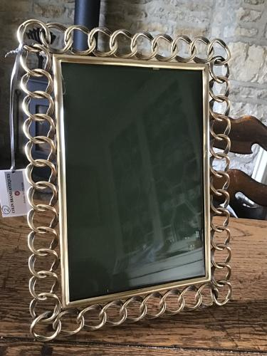 Large Victorian Brass Chain Link Photograph Frame