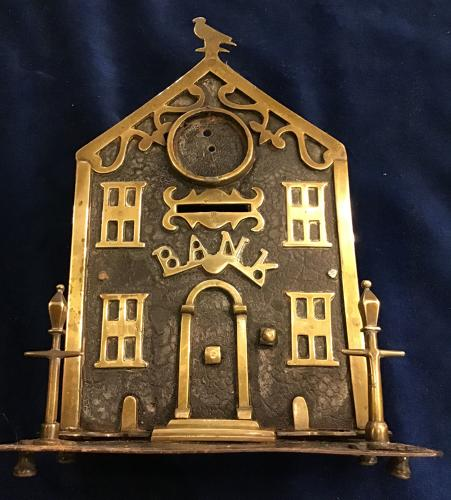 Victorian Brass and Iron Bank Money Box
