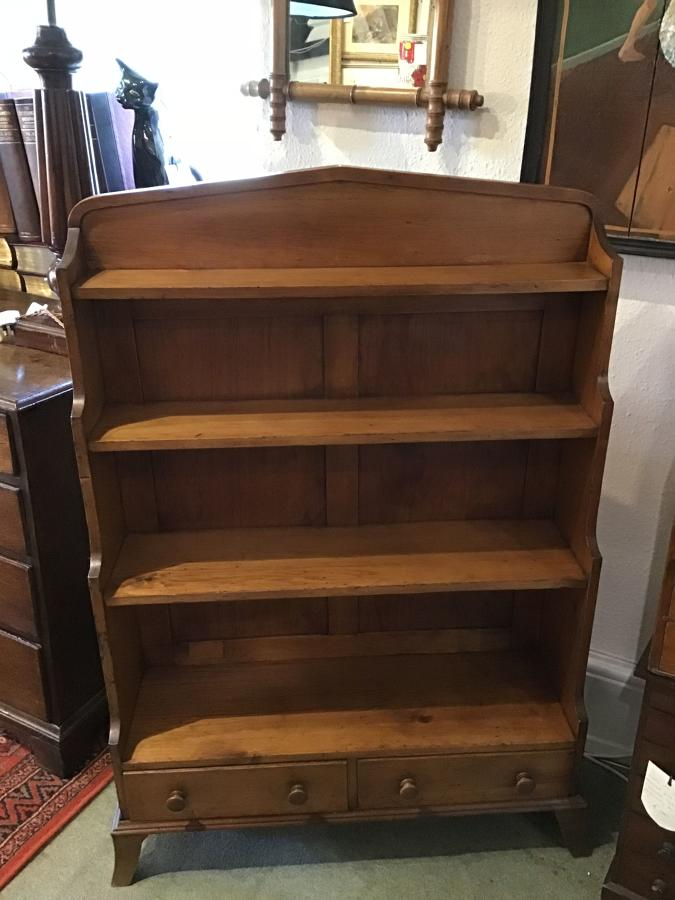 Early Victorian fruitwood waterfall bookcase