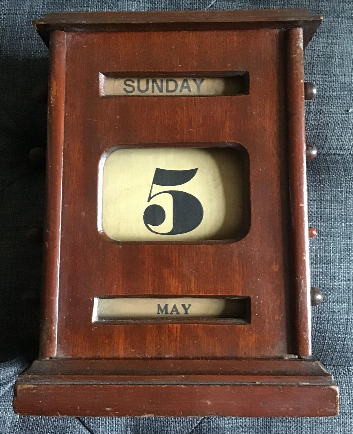 Antique Perpetual Oak Desk Calendar
