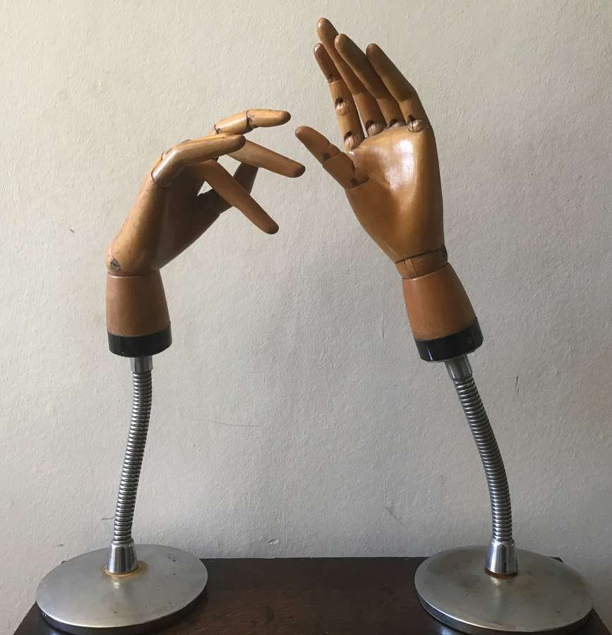 Pair of articulated artists hands or shop display