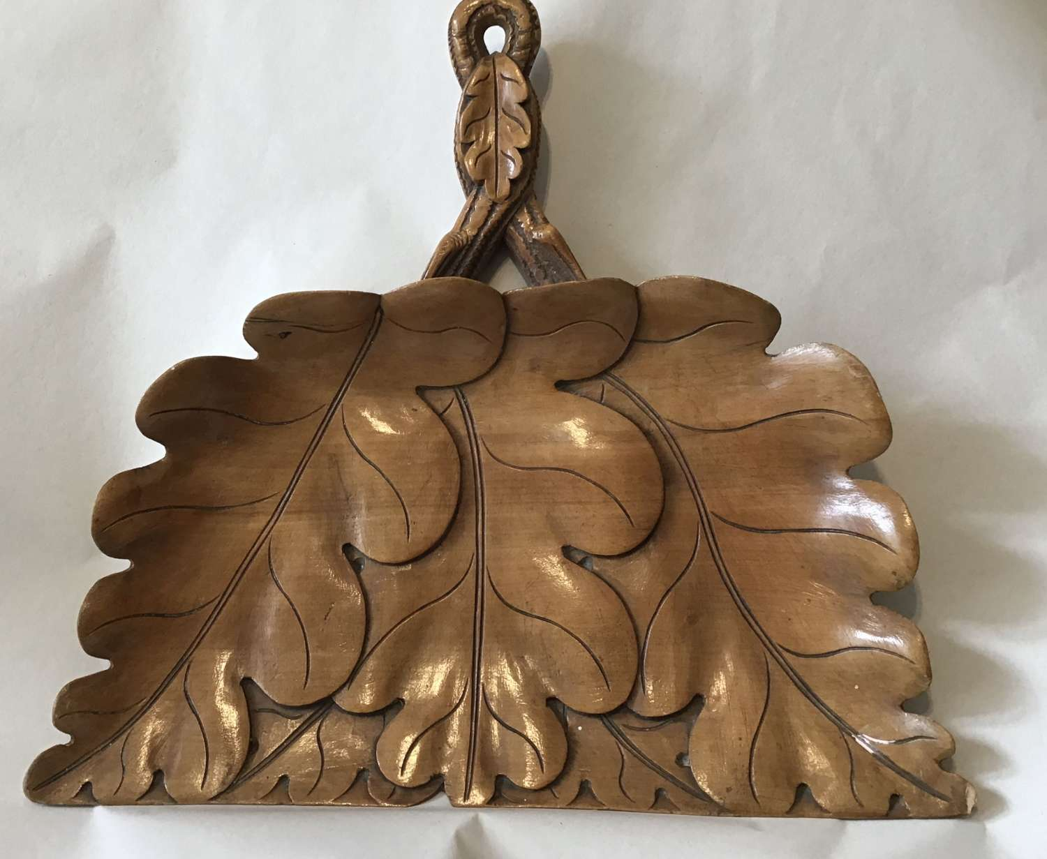 Treen carved crumb tray and brush