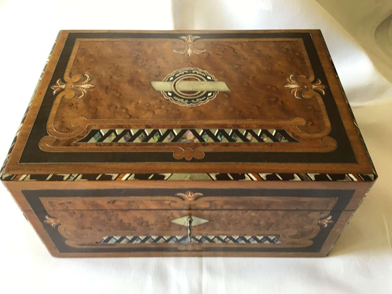Victorian sewing/needlework Inlaid Walnut Box