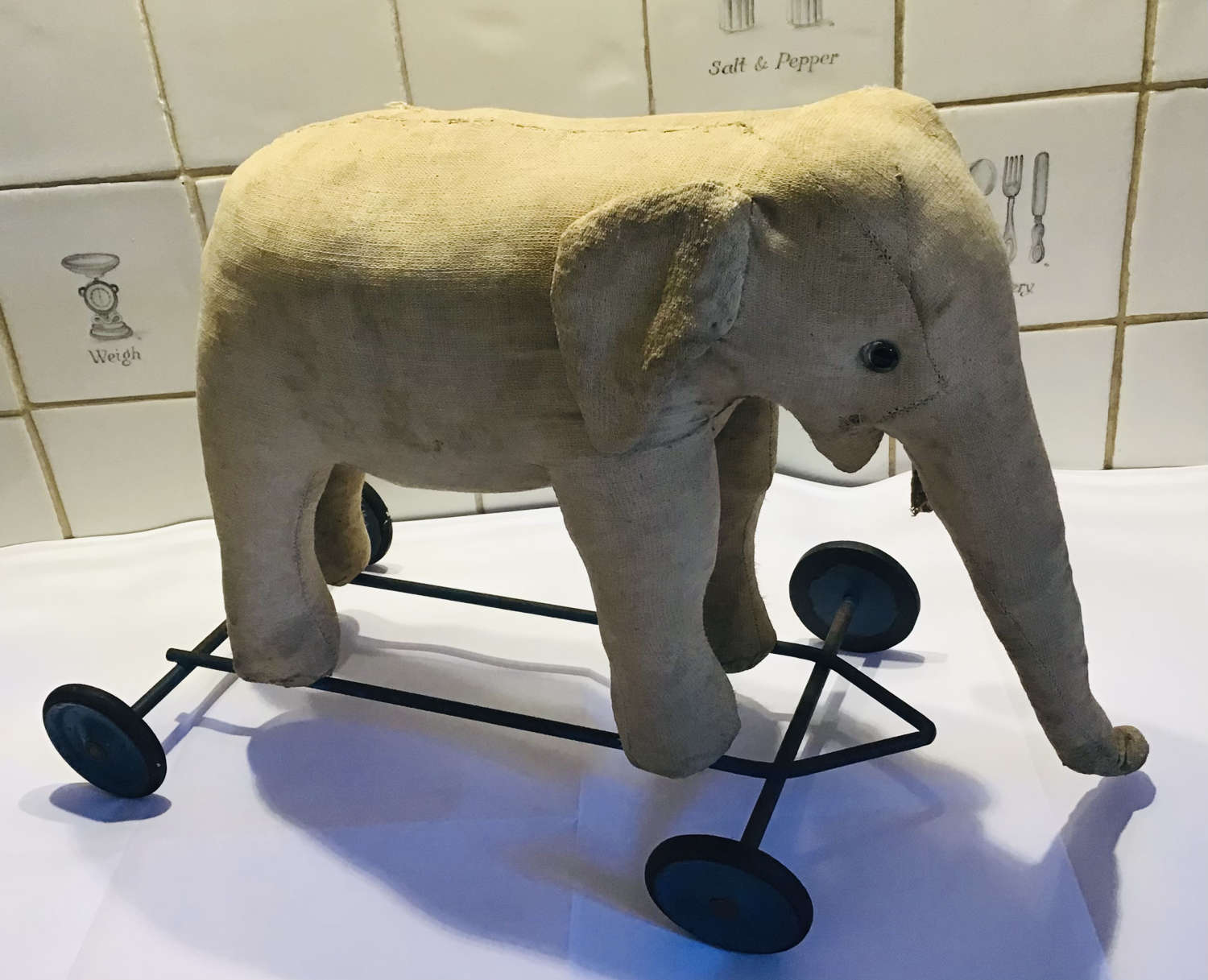 Antique French Elephant pull along Toy