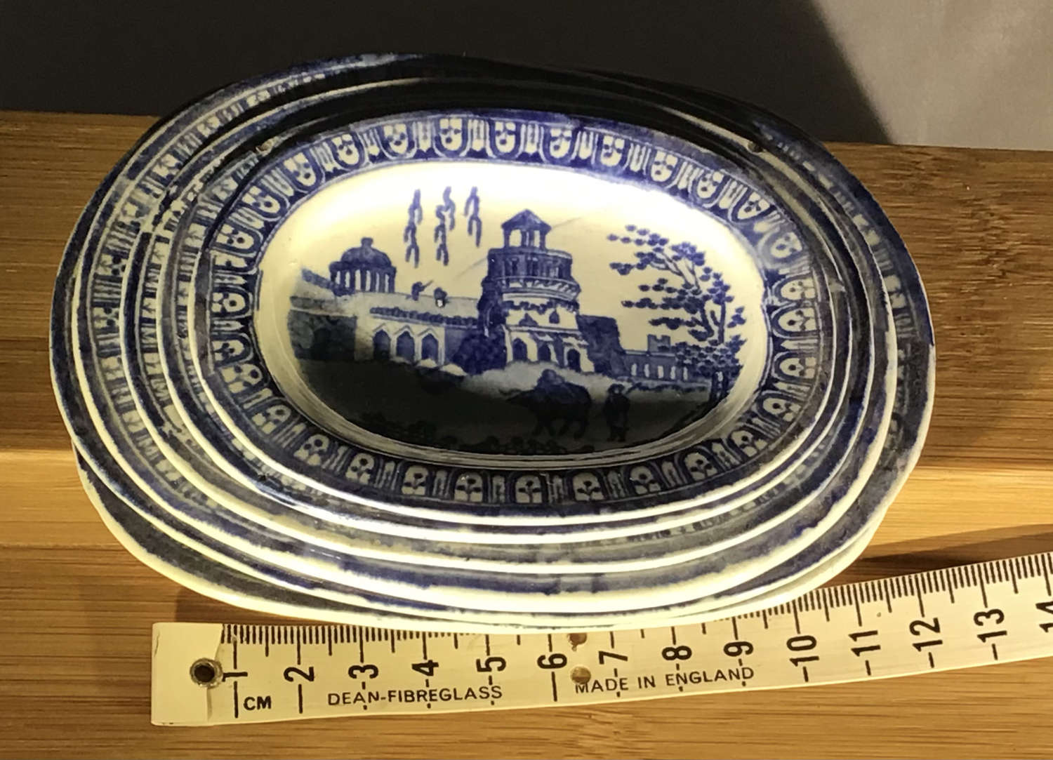 Miniature child's toy China platters by Rogers, Monopteros pattern