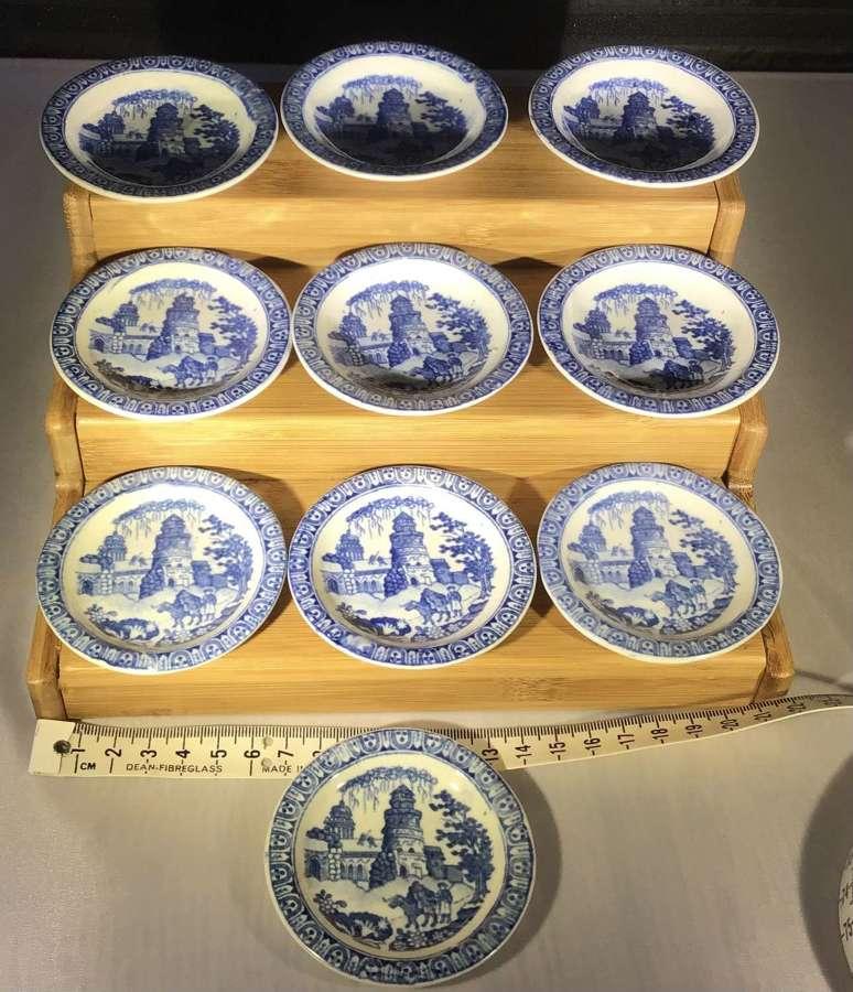 Set of ten miniature child's toy plates c1820